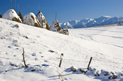 Winter landscape. Beautiful winter landscape with haycocks and mountains Stock Images