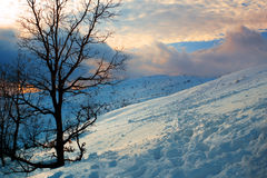 Winter landscape. With hills and bank of snow Stock Photo