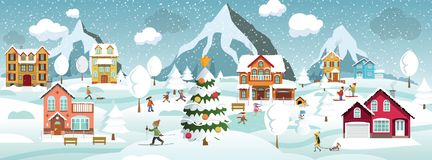 Winter landscape and winter activities royalty free illustration