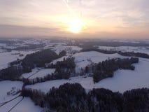 Winter landscape aerial Stock Photo