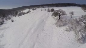Winter landscape aerial view stock footage