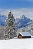 Winter landscape with alps mountains in Bavaria Royalty Free Stock Images