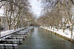 Winter landscape in Annecy, France Royalty Free Stock Photo