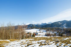Winter landscape around City of Zakopane Royalty Free Stock Photo