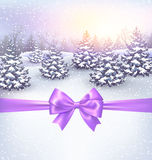 Winter Landscape Background with Christmas Trees and Bow Stock Image