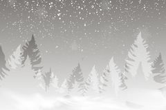 Winter landscape background with falling snow, spruce forest silhouette. royalty free illustration