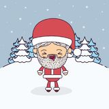 Winter landscape background with full body caricature of santa claus with eyes closed and tongue out expression. Vector illustration Stock Photography