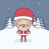 Winter landscape background with full body caricature of santa claus with eyes closed and tongue out tranquility. Expression vector illustration Stock Photos