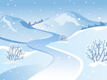 Winter landscape. Landscape on the background of mountains. Day landscape. Snowfall. Cold weather. The background landscape Stock Photos