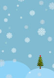 Winter landscape background. Snowdrifts and Christmas tree. Fall Stock Photography