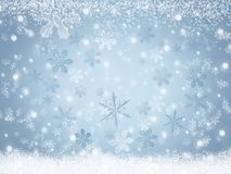 Christmas Winter landscape background Snowflakes falling on snow. Winter landscape background Snowflakes falling on snow. Abstract blue Christmas holiday Royalty Free Stock Photo