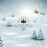 Winter landscape background with snowflakes Stock Photos