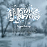 Winter landscape background snowy forest with new year lettering. Winter landscape background snowy forest with new year shiny lettering Royalty Free Stock Photography
