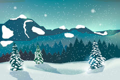 Winter landscape background. With winter tree and snow mountains Stock Images
