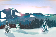 Winter landscape background. With winter tree and snow mountains Royalty Free Stock Image