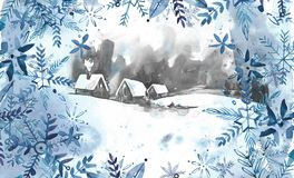 Winter landscape background. Watercolor painting, picture - forest, nature, tree. It can be used as logo, card. Illustration stock illustration