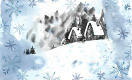 Winter landscape background. Watercolor painting, picture - forest, nature, tree. It can be used as logo, card. Illustration royalty free illustration