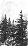 Winter landscape background. Watercolor painting, picture - forest, nature, tree. It can be used as logo, card Stock Photography