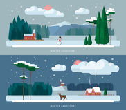 Winter landscape backgrounds set in flat style Stock Image