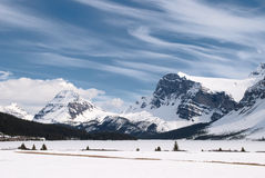 Winter landscape, Banff National Park, Canada. Winter landscape with Canadian Rockies and Bow Lake, Banff National Park, Alberta, Canada Stock Photos