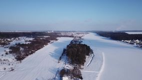 Winter landscape. Frost and sun. stock footage
