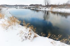 Winter river landscape. Royalty Free Stock Image