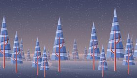 Winter landscape banner with abstract pine tree stock illustration