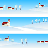 Winter Landscape Banners. Three winter country landscape banners, useful also for Christmas. Eps file available Stock Image