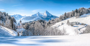 Winter landscape in the Bavarian Alps with church, Bavaria, Germany Stock Images