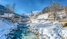 Winter landscape in the Bavarian Alps with church, Ramsau, Germany Stock Images