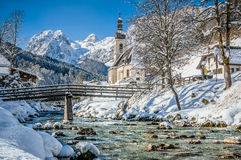 Winter landscape in the Bavarian Alps with church, Ramsau, Germany Royalty Free Stock Image