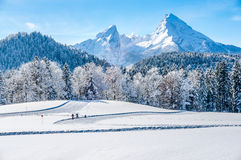 Winter landscape in the Bavarian Alps with Watzmann massif, Germany Stock Images