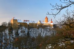 Winter landscape with a beautiful Gothic castle Veveri. Brno city - Czech Republic - Central Europe. Winter landscape with a beautiful Gothic castle Veveri Royalty Free Stock Image