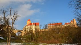 Winter landscape with a beautiful Gothic castle Veveri. Brno city - Czech Republic - Central Europe. Winter landscape with a beautiful Gothic castle Veveri Stock Photos