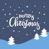 Winter landscape and beautiful handwritten inscription Merry Christmas. Vector background. Winter landscape and beautiful handwritten inscription Merry Royalty Free Stock Photos
