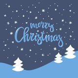 Winter landscape and beautiful handwritten inscription Merry Christmas. Vector background suitable for greeting cards, posters, invitations Royalty Free Stock Image