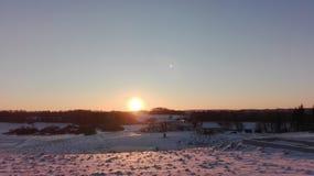 Winter landscape. Beautiful winter landscape sunset cold Stock Images