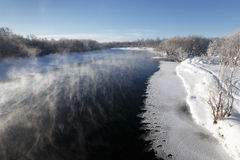 Winter landscape: beautiful view of Kamchatka River. Eurasia, Russian Far East, Kamchatka Krai Royalty Free Stock Images