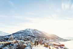 Winter landscape. Beautiful winter landscape of snow covered town Tromso in Northern Norway Royalty Free Stock Photos