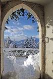 Winter landscape from behind a door Stock Photos