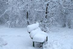 Winter landscape with bench stock photos
