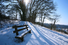 Winter landscape with bench Royalty Free Stock Photos