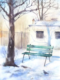Winter landscape with a bench Stock Image