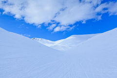Winter landscape with big snowy hills Royalty Free Stock Images