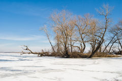 Winter landscape on a big Ukrainian river Dnepr Stock Images