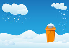 Winter landscape with bin Stock Photo