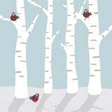 Winter landscape with birds stock illustration