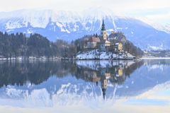 Winter landscape of Bled Lake. In Slovenia Royalty Free Stock Photos
