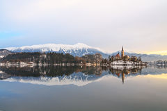 Winter landscape of Bled Lake. In Slovenia Royalty Free Stock Image