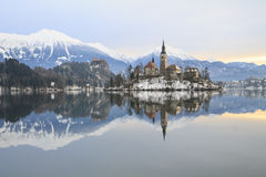 Winter landscape of Bled Lake. In Slovenia Stock Photos